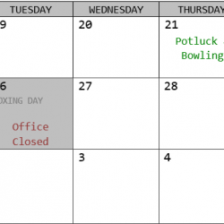 Holiday Hours 2017-2018